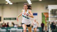 Isabel Zimmermann of Ronald Reagan High gets her second 'W' of the day at the JDL Dual Invitational in the 1K with a new PR of 2:58.62. Earlier in the day, she won the mile with an indoor PR of 5:01.65. (Photo by Phil Ponder)